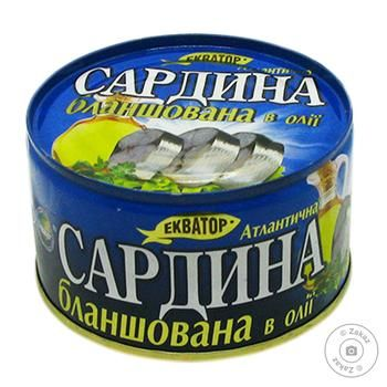 Ekvator atlantic blanched in oil sardines 240g - buy, prices for MegaMarket - image 1