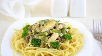Жаренные грибы с куринным филе и стручковой фасолью