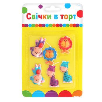 Свечи для торта Party Favors цветные 6шт
