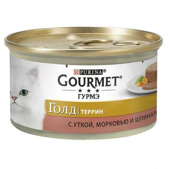 Корм Gourmet Gold Террін З качкою морквою та шпинатом для дорослих котів 85г