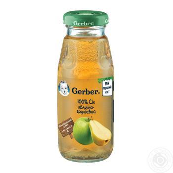 Сок Гербер яблочно-грушевый детский восстановленный пастеризованный без сахара с витамином С с 4 месяцев 175мл