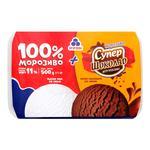 Морозиво Рудь: 100% морозиво + морозиво Супершоколад у лотку 500г