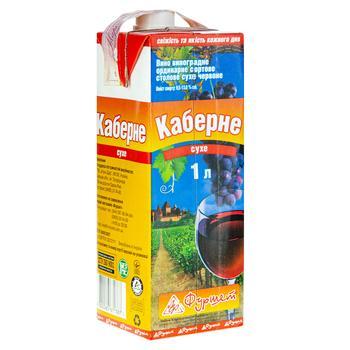 Вино красное Фуршет Каберне виноградное ординарное сортовое столовое сухое 13% тетрапакет 1000мл Украина - купить, цены на Фуршет - фото 1