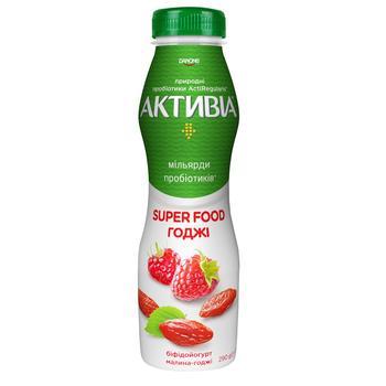 Бифидойогурт Активиа Малина-годжи питьевой 1,5% 290г - купить, цены на МегаМаркет - фото 1