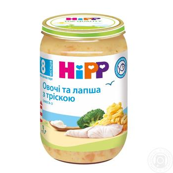 Пюре Hipp овочі та лапша з тріскою 220г - купити, ціни на МегаМаркет - фото 1