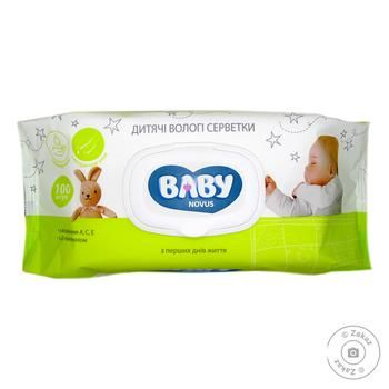 Novus Baby With Flap Wet Napkins 100pcs - buy, prices for Novus - image 1