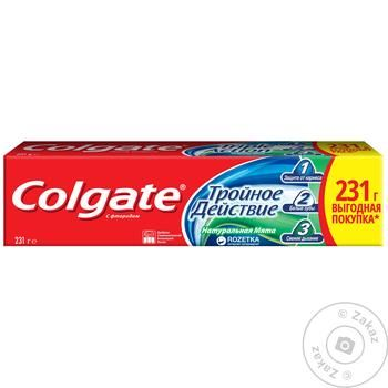 Зубная паста Colgate Тройное Действие Натуральная мята 150мл - купить, цены на Novus - фото 2