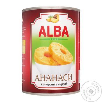 Ананаси Alba Food кільцями в сиропі 580мл - купити, ціни на МегаМаркет - фото 1