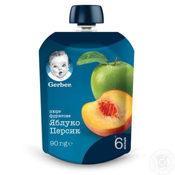 Пюре Gerber Яблоко и персик для детей с 6 месяцев 90г