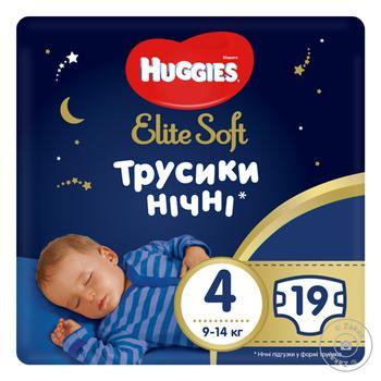 Підгузники-трусики 4 Huggies Elite Soft Overnights Pants 19шт - купити, ціни на Novus - фото 1