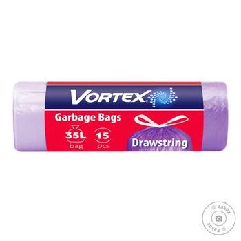 Пакети для сміття Вортекс Стандарт 35л 15шт з затяжкою