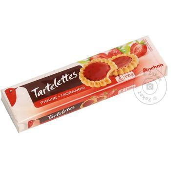 Печенье Ашан Тарталетки с клубникой 150г - купить, цены на Ашан - фото 1