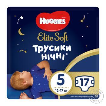 Подгузники-трусики Huggies Elite Soft Overnights Pants 5 ночные 12-17кг 17шт - купить, цены на Восторг - фото 1