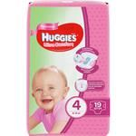Huggies Ultra Comfort For Girls 4 Baby Diapers 8-14 kg 19pcs
