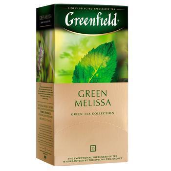 Чай Гринфилд Грин Мелисса зеленый с мелиссой и ароматом мяты и лимона 1,5г х 25шт - купить, цены на Novus - фото 1