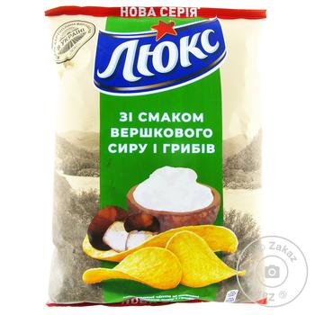 Чипсы Люкс со вкусом сливочного сыра и грибов 133г - купить, цены на Novus - фото 1