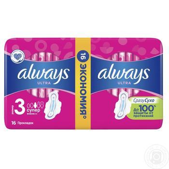 Прокладки Always Ultra Super Duo 16шт - купить, цены на Varus - фото 1