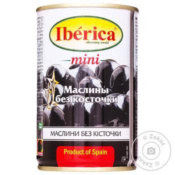 Маслини Iberica міні чорні без кісточки 300г - купити, ціни на Метро - фото 1