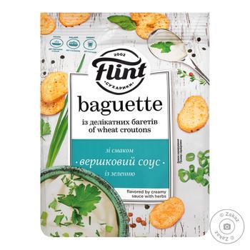 Сухарики Flint Baguette пшеничные со вкусом сливочного соуса с зеленю 110г