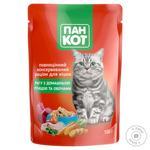 Консервированный рацион для кошек Пан Кот рагу с домашней птицей и овощами 100г