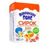 Творожок Волошкове поле сладкий с курагой нетермизированный 8% 100г Украина