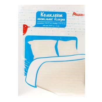Комплект Ашан постельного белья двуспальный 175x210см - купить, цены на Ашан - фото 1