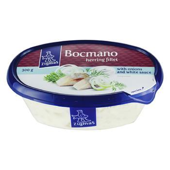 Сельдь Zigmas Bocmano филе маринованое с луком в белом соусе 300г