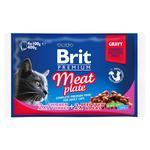 Вологий корм для котів Brit Premium Cat Meat Plate pouches асорті з 2 смаків М'ясна тарілка 400г