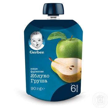 Пюре Gerber Яблоко и груша для детей с 6 месяцев 90г
