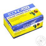 Кнопки Economix металлические цветные 100шт