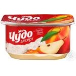 Творожок взбитый Чудо персик-груша двухслойный 4.2% 115г пластиковый стакан Украина