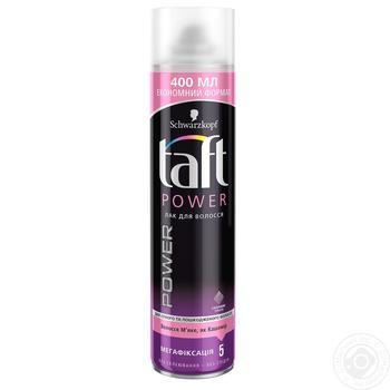 Лак для волос Taft Power Нежность кашемира Мегафиксация 5 400 мл - купить, цены на Ашан - фото 1