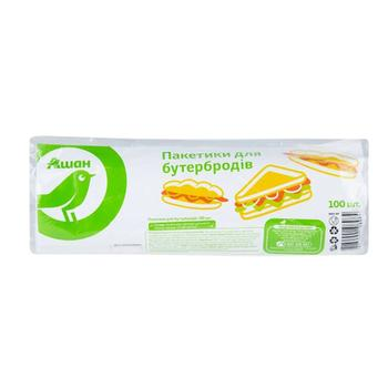 Пакетики Ашан для бутербродов полиэтиленовые 100шт - купить, цены на Ашан - фото 1