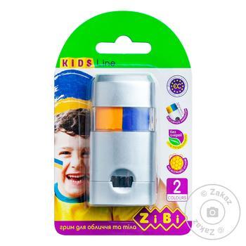 Фарби для лиця та тіла ПАТРІОТ з висувним механізмом, 2 кольори жовтий,блакитний, 30 г ZiBi - купити, ціни на Novus - фото 1