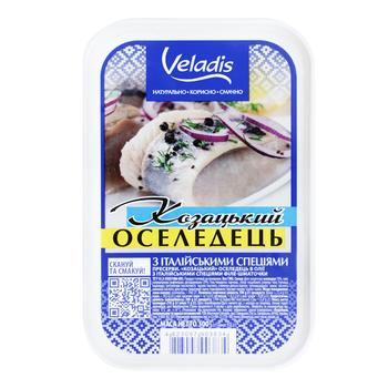 Cossack Herring fillet-pieces in oil Veladis 500g