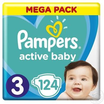 Pampers Active Baby-Dry 3 diapers 6-10kg 124pcs - buy, prices for MegaMarket - image 1