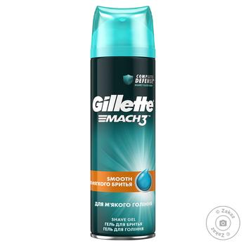 Shave Gel Gillette Mach 3 Close&Smooth For smooth and soft shaving 200ml - buy, prices for Metro - image 1