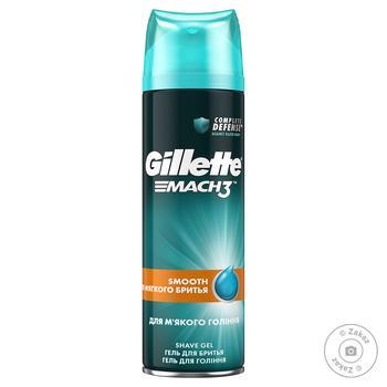 Гель для бритья Gillette Mach 3 Close&Smooth для гладкого и мягкого бритья 200мл - купить, цены на Novus - фото 1