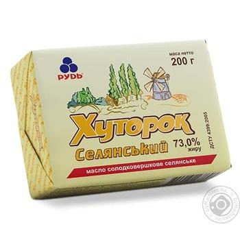 Масло Рудь Хуторок Селянский сладкосливочное 73% 200г - купить, цены на Ашан - фото 2