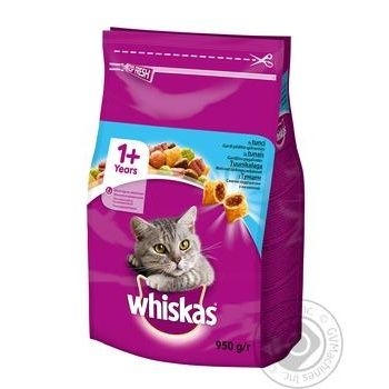 Корм Whiskas сухой Тунец для котов 950г