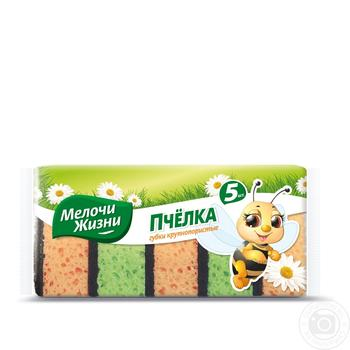 Губки Мелочи жизни Пчелки кухонные крупнопористые 5шт - купить, цены на Novus - фото 1