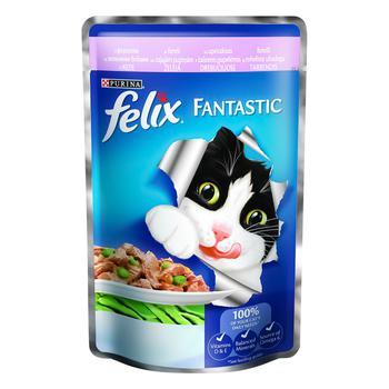 Корм Felix Fantastic С форелью и зелеными бобами в желе для взрослых котов 100г