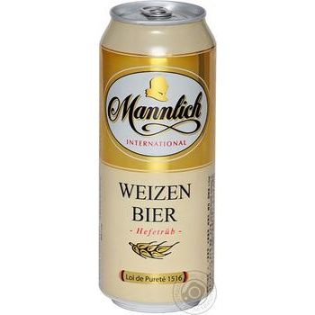 Beer Mannlich unfiltered 5.1% 500ml can Germany