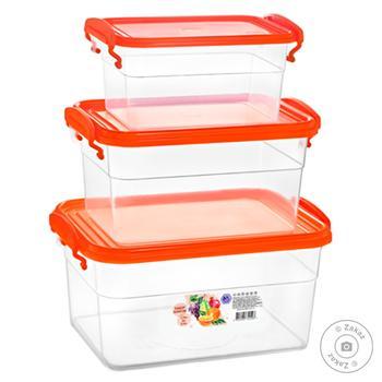 Набор контейнеров Эталон-С прямоугольных 3шт 2л+0,95л+0,55л - купить, цены на Varus - фото 2