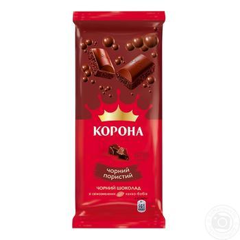 Шоколад Корона черный пористый 80г