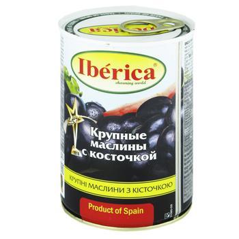 Маслины Иберика крупные черные с косточкой 420г