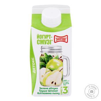 Zlagoda apple-flax-pear-spinach yogurt-smoothies 2% 280g - buy, prices for CityMarket - photo 1