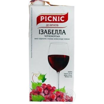 Вино Picnic Ізабелла червоне напівсолодке десертне 9-12% 1л - купити, ціни на Novus - фото 1