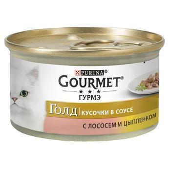 Корм GOURMET Gold З лососем та куркою у підливці для дорослих котів 85г