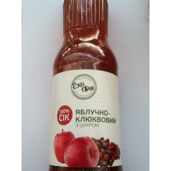 Сок Эко-фуд яблоко с сахаром 1000мл стеклянная бутылка Украина